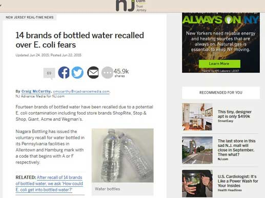 New Jersey news article about a water recall regarding E- Coli.