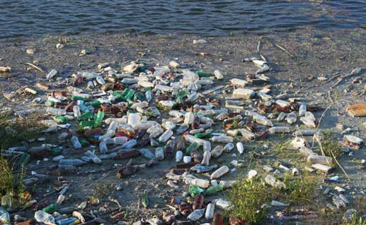 Beach full of plastic bottles and trash.